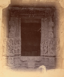 Close view of a richly-carved doorway of an unidentified temple, Mandhata, Nimar District